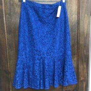 J.Crew, Blue, Lace, Trumpet skirt, Size 2